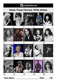 Trivia Picture Round Music 1970s