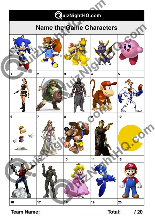 Game Characters 001 Questions