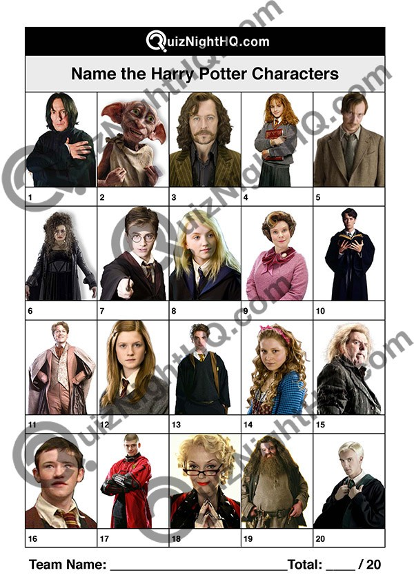 Harry Potter Characters 001 Questions
