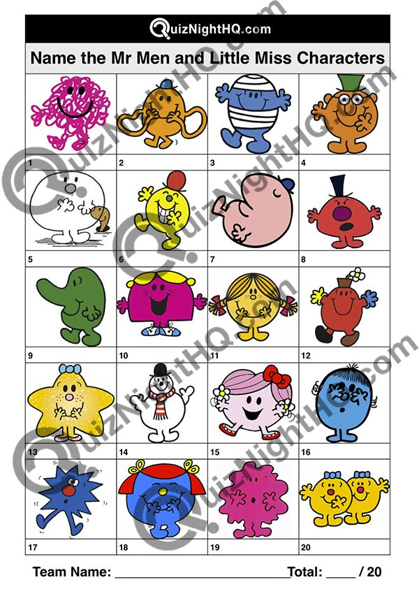 Mr Men & Little Miss Characters 001 Questions