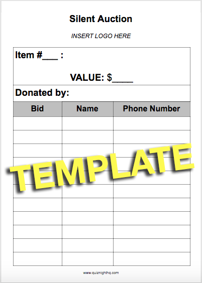 silent auction template