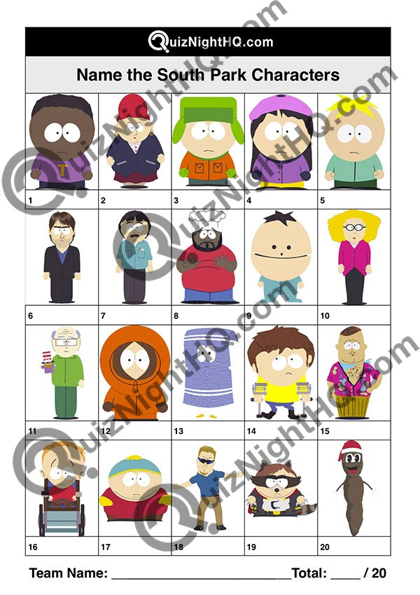 South Park Characters 001 Questions