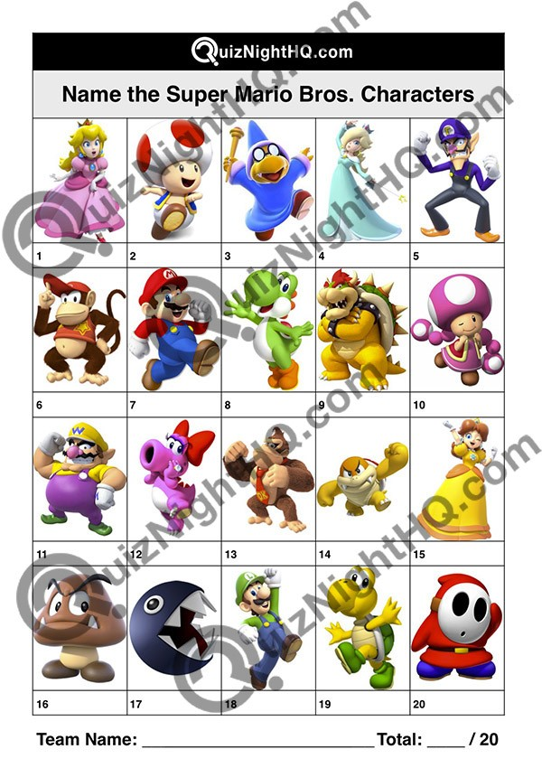 Super Mario Bros Characters 001 Quiz Night Hq
